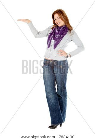 Woman Displaying Something