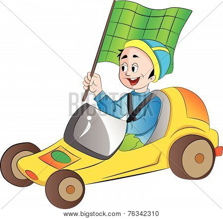 Boy In A Go Kart, Illustration