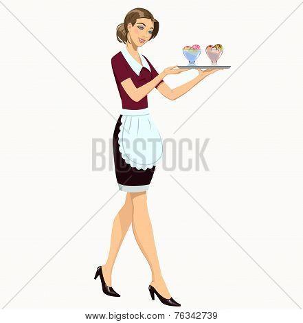 waitress with ice cream