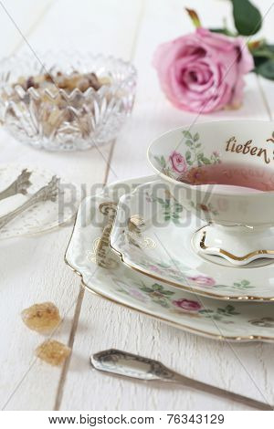 Romantic Tea-drinking In Valentines Day
