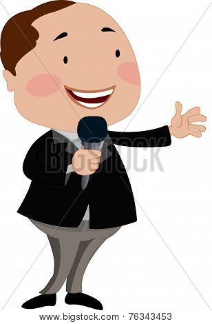 Man Talking On A Microphone, Illustration