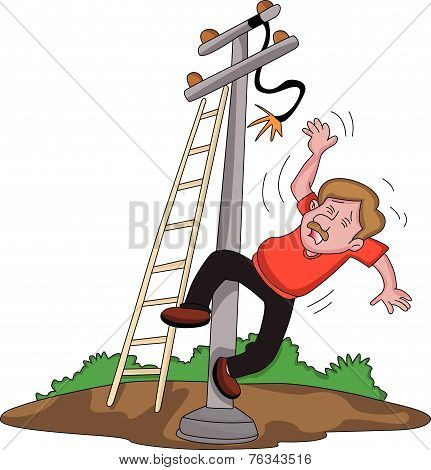 Vector Of Man Falling From Ladder After An Electric Shock.