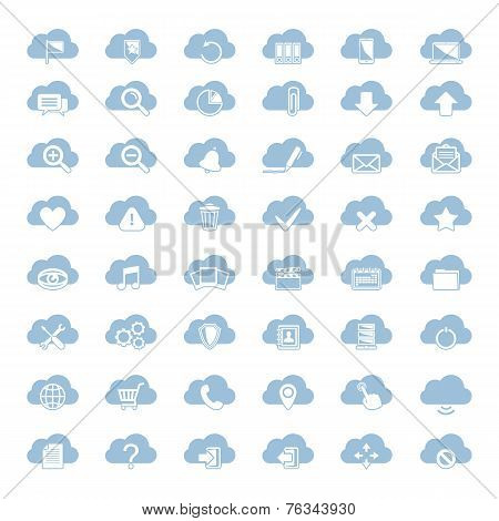 Big vector set of forty-six blue cloud  shapes with white icon