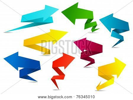 Set of colorful folded origami arrows
