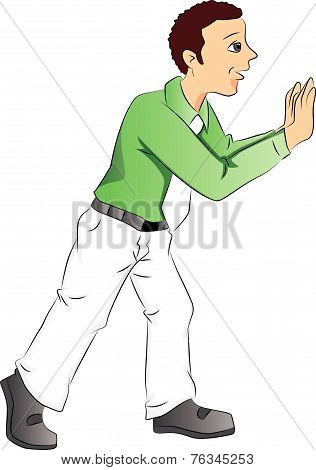 Vector Of Businessman Pushing.