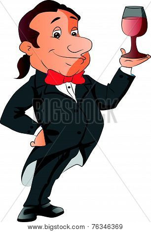 Vector Of Waiter Holding A Wineglass.