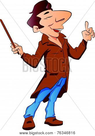 Vector Of Lecturer With Stick.