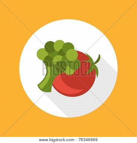 Tomato with broccoli icon