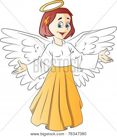 Vector Of Angel Girl.
