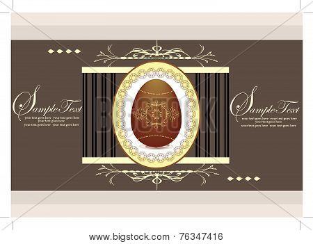 Vintage Easter Invitation Card With Ornate Elegant Abstract Floral Design