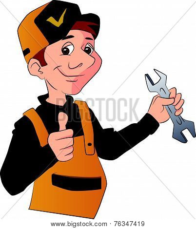 Vector Of A Handyman Holding A Wrench And Giving Thumbs Up.
