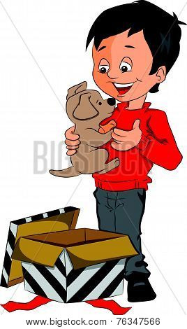 Vector Of Surprised Boy Holding Toy Dog.