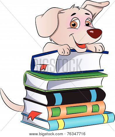 Vector Of Dog On Stack Of Books.