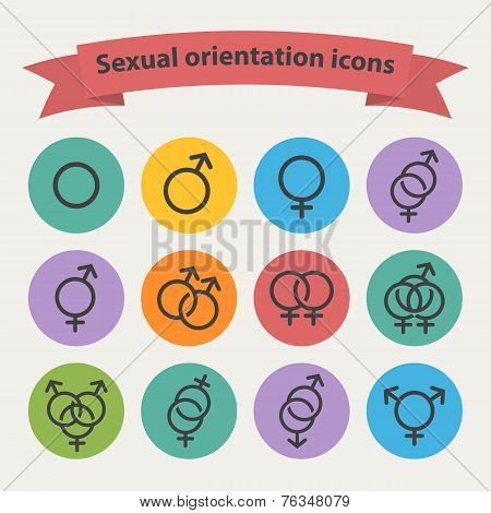 Vector sexual orientation black web icons