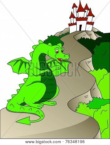 Vector Of Dragon And Castle.