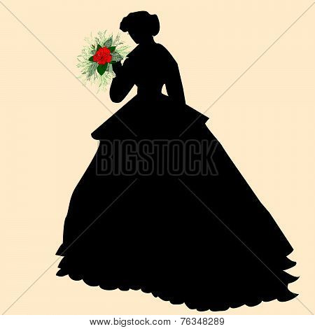 Black Silhouette Of A Bride In A Wedding Dress Holding A Boquet Of Red Flowers