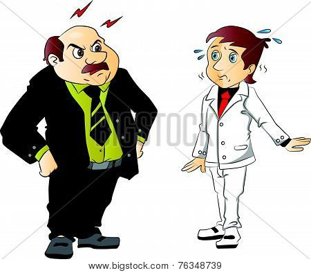 Vector Of Angry Boss Scolding Employee