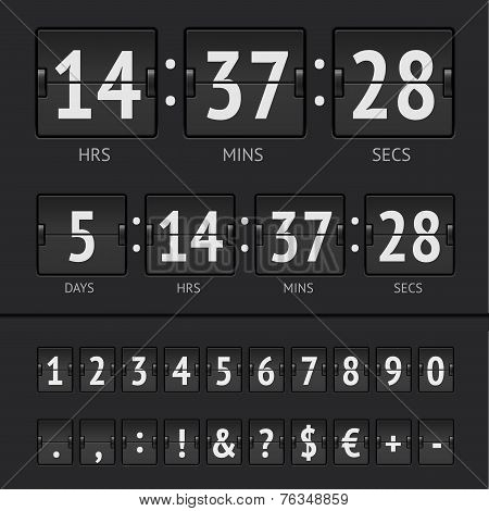 Vector countdown timer and scoreboard numbers