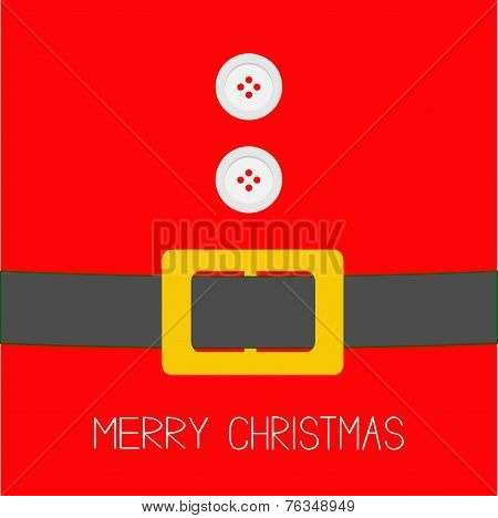 Santa Claus Coat With Fur, Buttons And Belt. Merry Christmas Background Card Flat Design