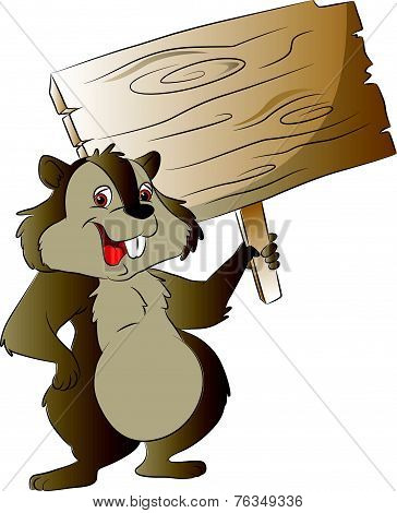 Vector Of Chipmunk Holding Wooden Sign