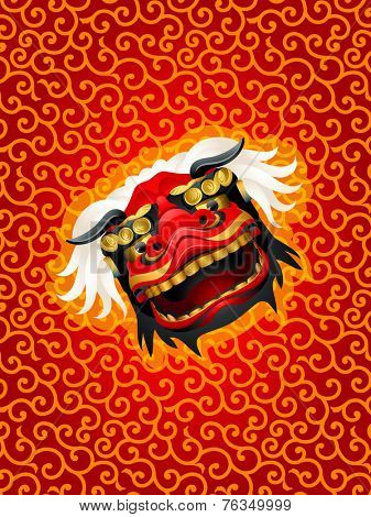 Lion mask over red karakusa festival pattern