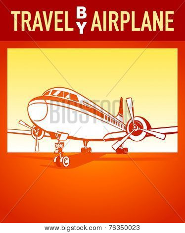 Travel by airplane orange retro poster