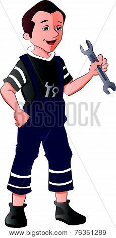 Vector Of Repairman Holding Spanner.