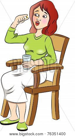 Vector Of Scared Woman Taking A Pill.