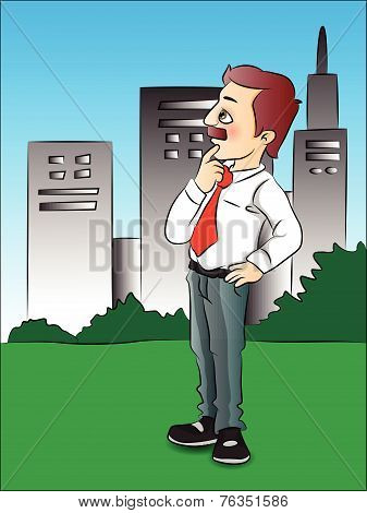 Vector Of Thoughtful Businessman In Front Of Buildings.
