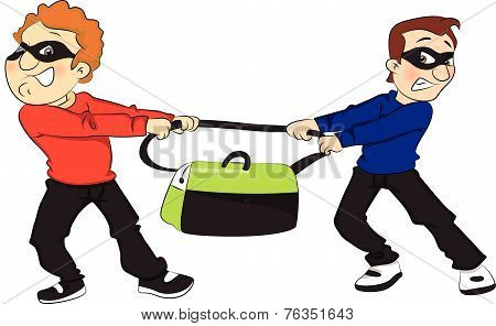 Vector Of Two Thieves Pulling Bag In Opposite Direction.
