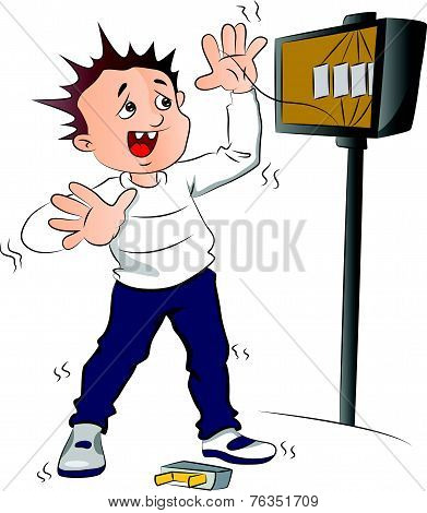 Vector Of Man Receiving An Electric Shock After Short Circuit.