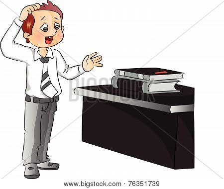 Vector Of Businessman Scratching Head While Looking At Files On Office Desk.