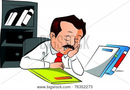 Vector Of Employee Sleeping With Files On Desk.