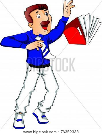 Vector Of Shocked Businessman Trying To Hold A Falling File.