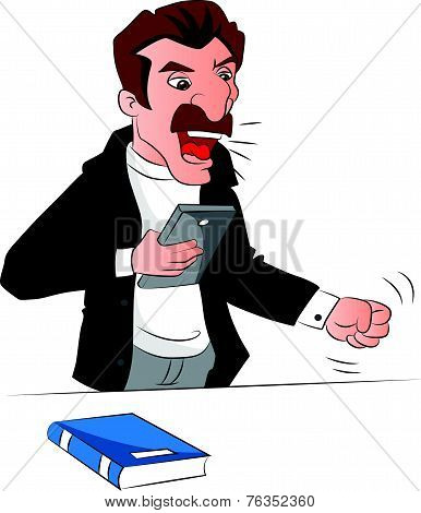Vector Of Angry Man Holding A Book, Shouting.
