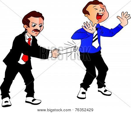 Vector Of Boss Hitting Employee.