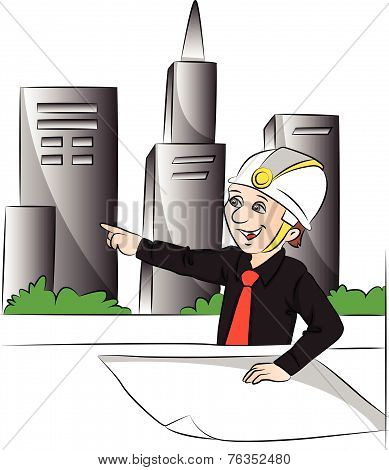 Vector Of Engineer Pointing At Site.