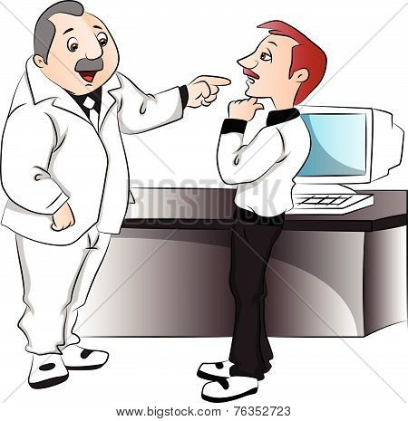 Vector Of Boss Blaming His Employee.