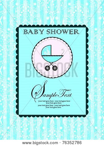 Vintage Baby Shower Invitation Card With Ornate Elegant Abstract Floral Design