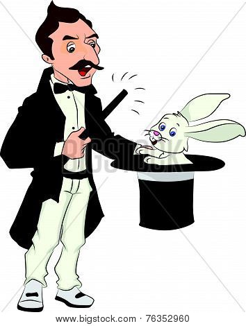 Vector Of Magician Performing Tricks.