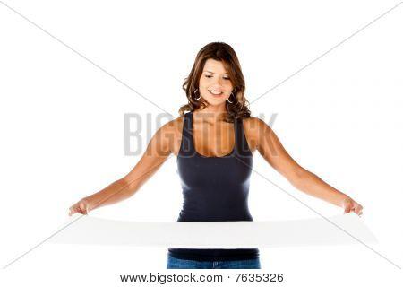 Girl Holding White Card