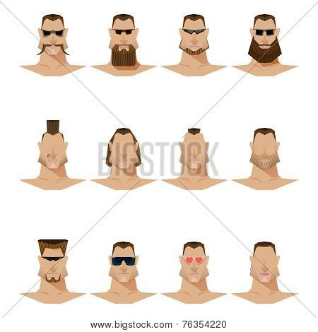 male face mustache and beard and sunglasses, flat style