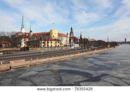View of Riga with the frozen Daugava