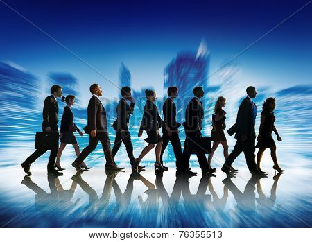 Business People Corporate Travel Walking City Concept