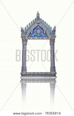 Thai Traditional Style Carved Wooden Window and Stuccowork