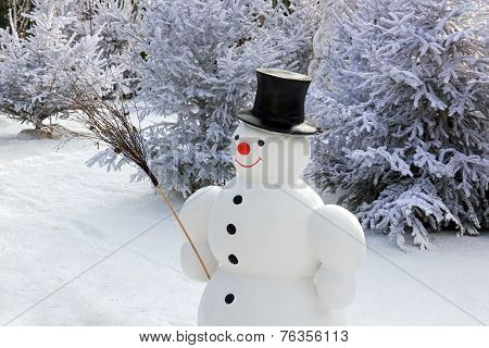 Snowman and his wooden broom