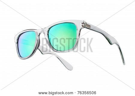 Fashionable Sunglasses With Green Lenses. Isolated On White Background