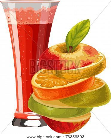 Vector Of Sliced Fruit And Glass Of Mocktail.