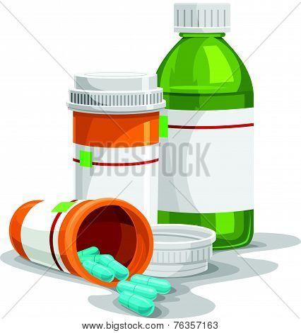 Vector Of Prescription Capsule And Bottles.