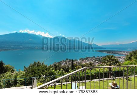 landscape of a lake view from a balcony